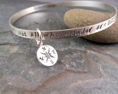Not all who wander are lost bangle bracelet, mantra bracelet, charm bracelet, blessings bracelet