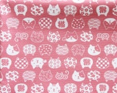 Animal Print Fabric By The Yard - Japanese Cats on Pink - Cotton Fabric - Fat Quarter