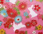 Animal Print Fabric - Oriental Rabbits on Pink - Animal Floral Cotton Fabric - Half Yard