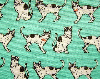 Animal Print Fabric By The Yard - Black and White Cats on Mint Green - Cotton Fabric - Half Yard