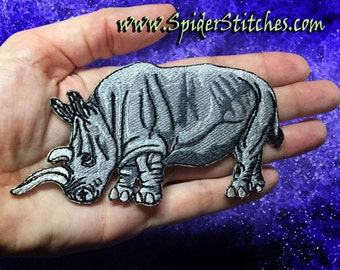 Small  Nola  Northern White Rhinoceros Rhino Ceratotherium simum Iron on Patch