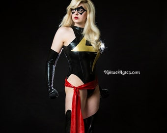 Ms Marvel Complete Cosplay Costume, includes LATEX Bodysuit, Fingerless Gloves, Stockings, Sash, and Mask.  Made to Order.