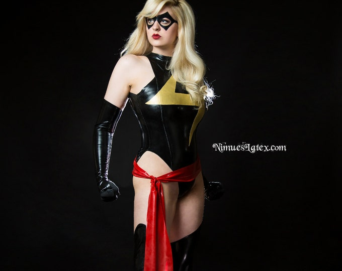 Featured listing image: Ms Marvel Complete Cosplay Costume, includes LATEX Bodysuit, Fingerless Gloves, Stockings, Sash, and Mask.  Made to Order.