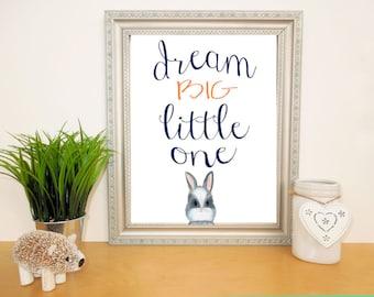 Dream Big Nursery Art Print, Woodland Bunny Nursery, Navy Orange Nursery, Toddlers Room, Nursery Wall Decor, Cute Baby Bunny