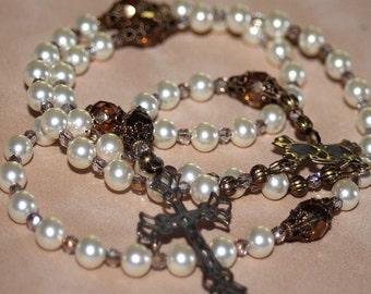 5 Decade White Swarovski Pearl Catholic Wedding Rosary