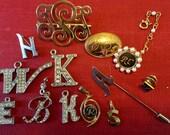 Vintage Initial Brooch Pin Lot b k h w a