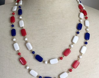 MOTHERS DAY sale Patriotic Necklace Red White Blue long 1960s