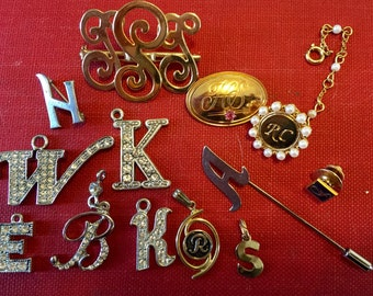Vintage Initial Brooch Pin Lot b k h w a