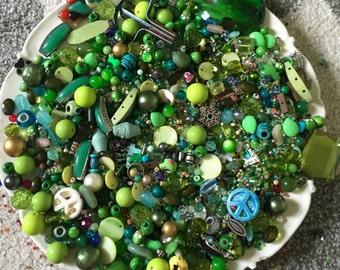 HUGE 1 pound 9 oz  Bead Mix Destash Findings Lot stone Glass Plastic Jewelry Making Inspiration Green