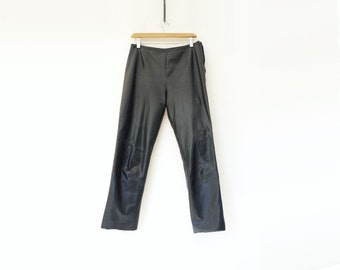 Black Leather Pants Vintage 90s Leather Cropped Black Pants Soft Leather Trouser Slim Fit Leather Danier Leather Pant 1990s Leather Pants s