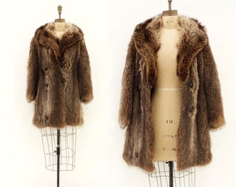 1970s Fur Coat Vintage Raccoon Coat Boho Primitive Fur 1970s Boho Fur Coat Mad Max Vintage Fur 70s Statement Fur Shaggy Brown Fur xs