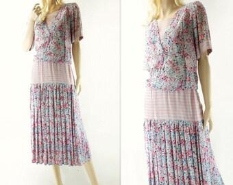 sale 80s Flapper Dress, Vintage Floral Dress, Floral Midi Dress, 1980s Pink Blue Floral, 20s Style Dress, 80s Sailor Dress, s