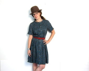 Floral Mini Dress 50s House Day Dress Mini Blue Button Up Front Shirt Dress Cotton Pleated Full Skirt Medium Louannes Vintage
