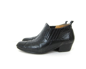 Black Snake Skin Leather dress shoes men's leather Giorgio Brutini Boot Heels Rockabilly Hipster Ankle Boot shoes. men's size 11