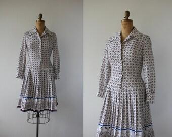 1960s vintage dress / 60s white drop waist dress / 60s shirt dress / 60s boarder print dress / 60s scooter dress / 60s mod dress / medium
