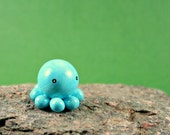Little Blue Octopus - Hand Sculpted Terrarium Figurine Miniature Polymer Clay Animal