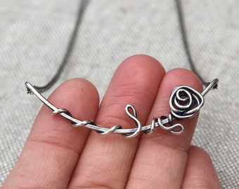 Twisted Rose Necklace, Sterling Silver, Oxidized