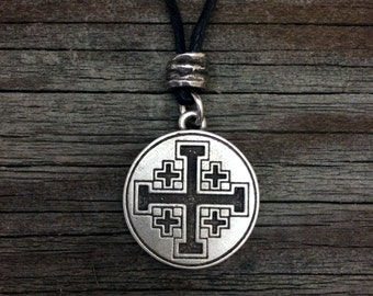 Jerusalem Cross or Crusaders Cross Pewter Pendant