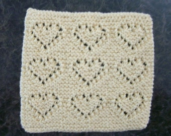 Hand Knit pale yellow dishcloth - measures approximately 8x81/2 inches