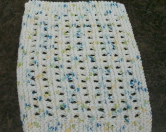 Hand Knit Cotton Dishcloth - measures approximately 8x10 inches