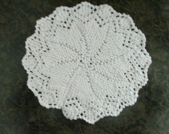 Hand Knit White Dishcloth or Doily - measures approximately 10x10 inches
