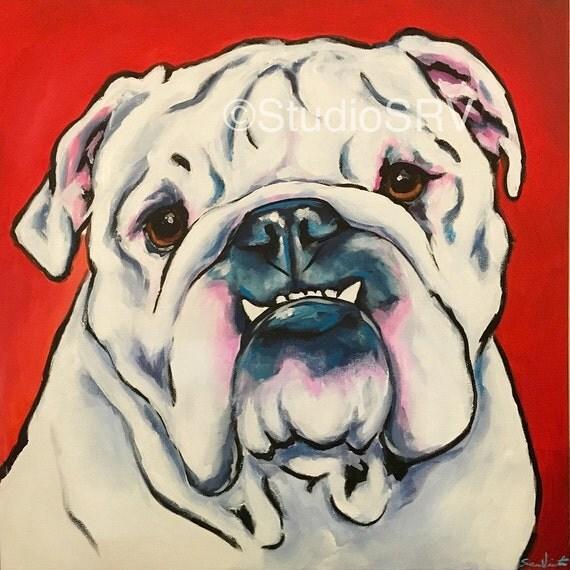 20x20 ORIGINAL bulldog painting