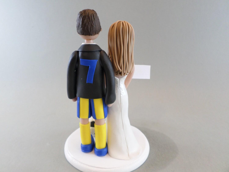 Wedding Cake Topper - Personalized Bride & Groom Soccer Fans ...