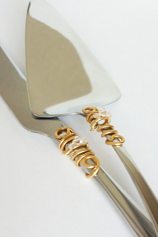 swarovski wedding cake server set knife beaded cutter custom. Black Bedroom Furniture Sets. Home Design Ideas