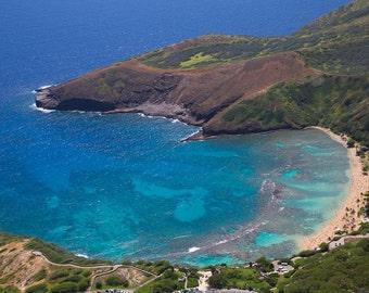 Hanauma Bay Aerial, O'ahu, Hawaii-8x10-Color Fine Art Photo-Certificate of Authenticity-Signed by Artist