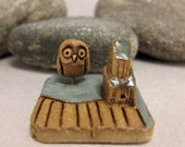 MyLand - Barn Owl - Collectible 3x3 cm or 1.2x1.2 in. puzzle in stoneware