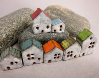 Lucky Seven...Miniature Houses in Stoneware