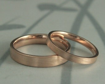 Gold Wedding Band Set--Flat Wedding Bands--Comfort Fit Rings--His and Hers Bands--Gold Wedding Rings--Modern Wedding Bands--Handmade Bands