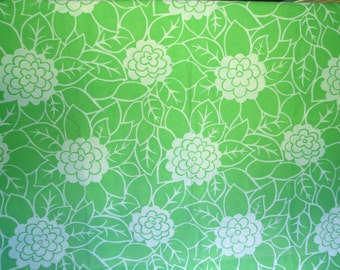 Vintage Lime Green Floral Print Queen Flat Sheet