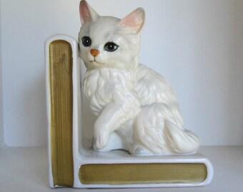 Vintage Ceramic Cat Kitten Bookend Books