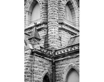 Black and White Photography, Rustic Wall Decor, Church Photograph, Architecture Photo, Farmhouse Decor, Fine Art Print, Stone Building, Grey