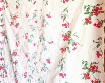 Vintage Linen Tablecloth Square Cherries Cherry Blossom Flowers Red White Green Square Table Cloth