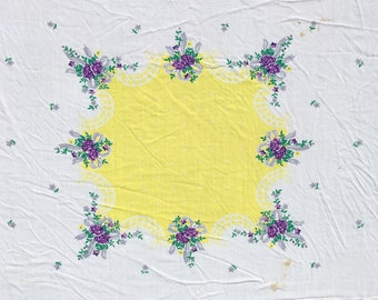 Vintage Linen Square Tablecloth White Yellow Purple Flowers Table Cloth - Free Shipping