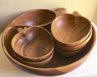 Set of Apple Shape Solid Wood Bowls Large and Small Chips and Dip or Salad and Serving Dishes