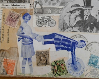 Original Collage Art on Large vintage book cover, OOAK art, Traveln' Bone, made from recycled materials