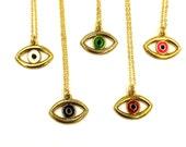 """EVIL EYE - VTG 90'S eye charm on 18K gold plated 18"""" chain"""