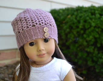 Doll Clothes - Boy or Girl Doll - Doll Beanie for 18 inch - Crocheted Slouch Beanie - Dusty Rose Pink - MADE TO ORDER - fits American Girl