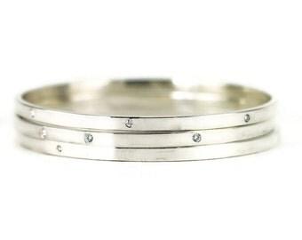 Diamond Bangle - 3 Diamond Bangle Bracelet - Sterling Diamond Bracelet
