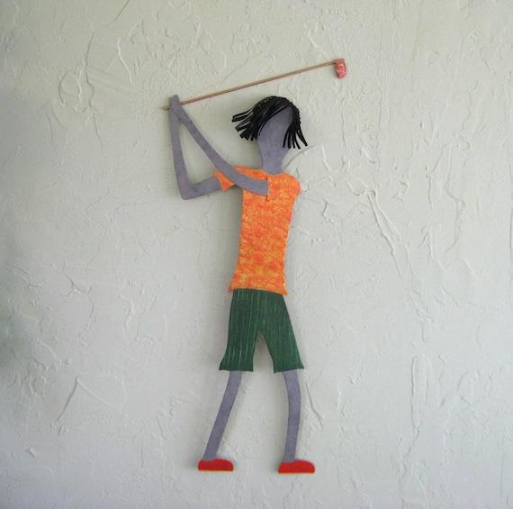 Metal Golf Wall Decor : Metal wall art guy golfer recycled golf sports