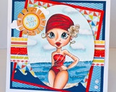 Vintage Swim Greeting Card