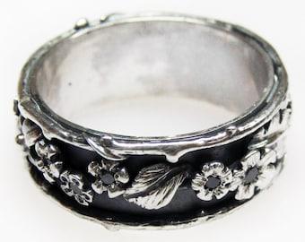 Black Diamond Silver Wedding Band