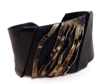 50% OFF SALE Women's Leather Bracelet Elegant Cuff Wristband Fashion Jewelry Wide Black Bangle