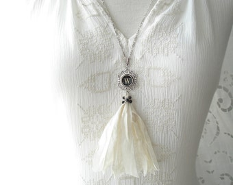 Typewriter Key Necklace. Letter W Necklace. Vintage Typewriter Key Jewelry. Long Sari Silk Tassel Boho Beaded Necklace. Eco Friendly Gift.