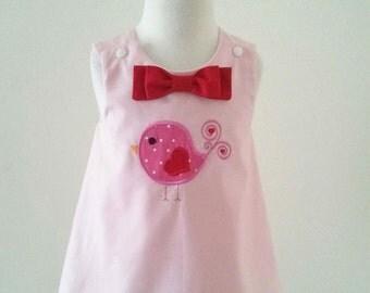 Girl Bird Dress, Pink A-line Dress, Girl Birthday Dress, Baby Pink Dress, Baby Jumper, Pink Jumper, Size 12-18M READY TO SHIP