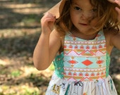 Size 2t girls horse dress, ready to ship, toddler dress, boho, toddler, child, girls dress, bloomers, summer outfit, spring outfit