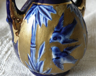 BIRDS Handled Cobalt and Gold Vase, Austria